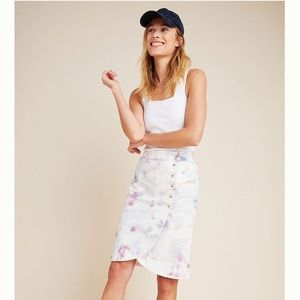 ANTHROPOLOGIE Kimmie Tie-Dyed Tulip Midi Skirt, 14